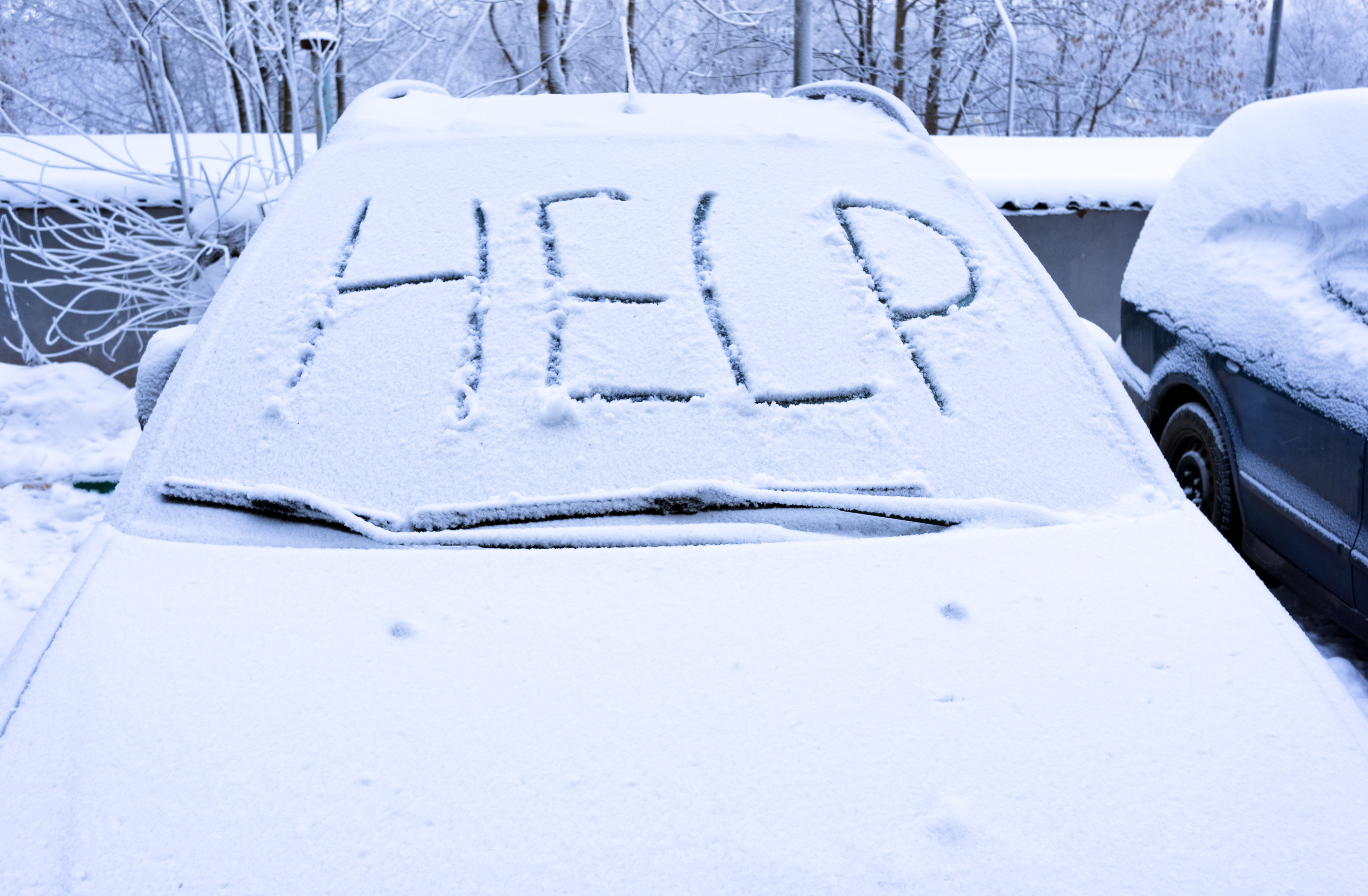 Word help on snow covered car